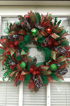 Christmas Front Door Wreath, Red and Green wreath, Door hanger, Christmas Door Wreath, Holiday Wreath, Holiday decor by DecoWreathBoutique on Etsy