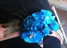 do re mi fa sew Lar:  homemade prom corsage Felt, satin, organza and peacock feathers