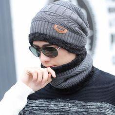 382569f2b0d 2017 winter burst knitted hat men s autumn and winter models two-piece  ladies hats cap Winter men winter hat balaclava