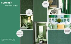Comfrey - Pantone Spring 2014 - This mossy shade is reminiscent of Pantone's Colour of the Year 2013 – Emerald – toned down and somewhat muted into a calming jade, inspiring thoughts of a rich, bountiful forest floor and the scent of wet earth in the fresh air.  Keep in sync with the natural theme with cellular design Cella Bitter or meandering stripe Leon Forest, or colour block with Istanbul Evergreen or Matalisse Emerald.