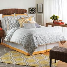 Dress your bed with the fun and funky Jill Rosenwald Plimpton Flame Reversible Comforter Set. Adorned with an ombre flame print, and chevron print accents on the reverse side, the bedding instantly brings a sense of whimsy to your bedroom. Queen Size Comforter Sets, King Size Comforters, Chevron Bedding, White Bedding, E Design, Interior Design, European Pillows, Bedding Collections, Bedroom Decor