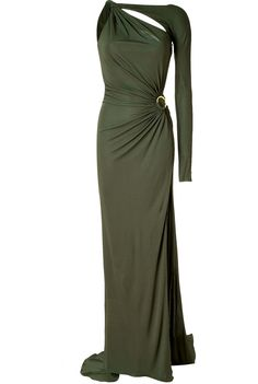 EMILIO PUCCI  SEE DETAILS HERE: Olive Draped One Sleeve Jersey Gown