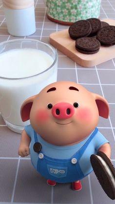Pig Wallpaper, Cute Girl Wallpaper, Cute Wallpaper Backgrounds, This Little Piggy, Little Pigs, Pig Illustration, Illustrations, Kawaii Pig, Pig Images