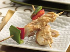 Chicken Satay with Spicy Peanut Sauce http://www.bettycrocker.com/recipes/chicken-sate-with-spicy-peanut-sauce/b3ef65be-a5f8-451a-becb-5eec5f11566f