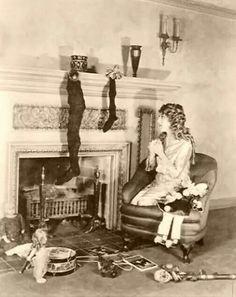 Mary Pickard waiting for Santa, 1920