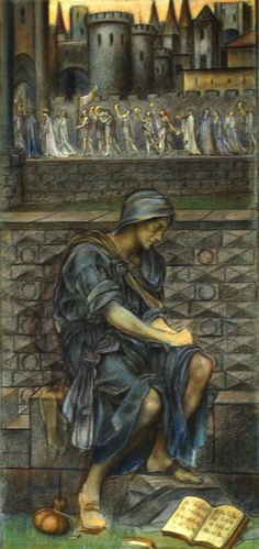"""oldpaintings:  """"Study of seated male figure for The Poor Man who Saved the City, 1901 by Evelyn de Morgan (English, 1855–1919)  """""""
