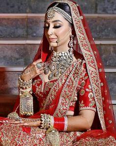 Indian Bridal Nose Ring Make Up Super Ideas Indian Bridal Outfits, Indian Bridal Makeup, Indian Bridal Wear, Bridal Dresses, Wedding Makeup, Royal Indian Wedding, Asian Bridal, Indian Weddings, Indian Wear