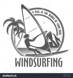 isolated vector illustration emblems man on board sailing in vintage style on a white background / windsurfing emblem on a white background