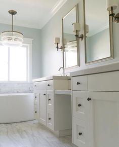 Sherwin williams sea salt paint color schemes - interiors by color bathroom marble, bathroom renos Bathroom Colors Blue, Blue Bathroom Paint, Master Bedroom Bathroom, Bathroom Color Schemes, Paint Color Schemes, Blue Color Schemes, Bathroom Renos, Grey Bathrooms, Bathroom Marble