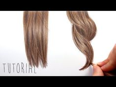 Tutorial | How to draw realistic brown straight and curly hair with colored pencils | Emmy Kalia - YouTube