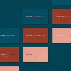 teal, red, & pink business cards