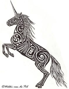 The Unicorn is a mythical creature. Strong, wild, and fierce, it was impossible to tame by man. Its white coloring made it a natural symbol for purity, chastity and virginity. It was traditionally ...