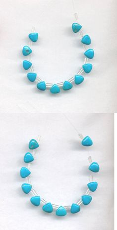 Stone 179273: 12 Natural Sleeping Beauty Turquoise Triangle Briolette Beads - 6X6x4mm -> BUY IT NOW ONLY: $32.75 on eBay!