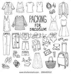 Summer travel luggage. Packing for vacation. Woman clothing set. Vector…