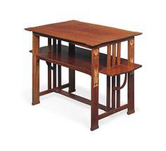 A LIBERTY & CO. INLAID MAHOGANY TEA TABLE, POSSIBLY DESIGNED BY LEONARD WYBURD -  CIRCA 1900