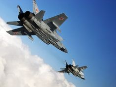 Russian Mikoyan Mig-31 Foxhound fighters.