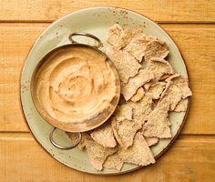 Cauliflower hummus with parmesan pita chips. Recipe by Joan Schmitt, Edible Allegheny.