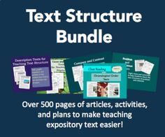 Five text structure resources in one! Over 500 pages of articles, activities, and lesson plans to help you teach readers about text structure in expository texts. -Graphic organizers to help students internalize text structures -Before, during, and after reading activities to build comprehension -... Text Structures, Teaching Plan, Test Preparation, Digital Text, Compare And Contrast, Cause And Effect, Close Reading, Problem And Solution, Reading Activities