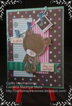 Carito Inspiraciones con una tierna tarjeta usando sellos Latina Crafter: Feliz día del amor
