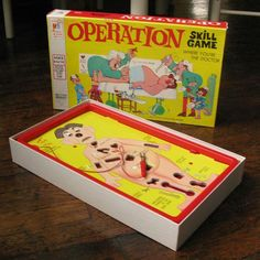 Operation -- Original 1965 Game - Kids wanted to be Doctors (obviously before insurance companies took over the medical industry)! 1960s Toys, Retro Toys, Vintage Toys, Vintage Games, 50th Party, 50th Birthday, Birthday Celebration, Childhood Toys, Childhood Memories