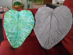 MY RHUBARB LEAVES pressed into wet cement (or hosta leaves)