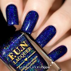 FUN Lacquer Starry Night Of The Summer is a deep blue holographic polish. This nail polish is handcrafted and designed by Yuin Ying, creator of FUN Lacquer. Mad