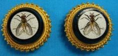 FINE ANTIQUE MICROMOSAIC GOLD CUFFLINKS c 1860 ITALIAN CASTELLANI GRAND TOUR