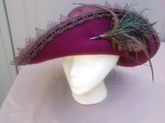 Cavalier style pirate hat burgundy with brown lace trim