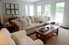 family room | cote de texas | revere pewter benjamin moore | sectional | seagrass rug