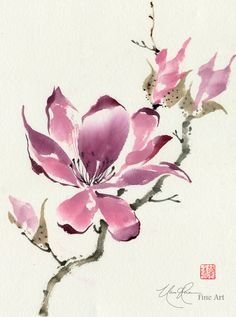 "Chinese Magnolia | ""The Unfolding"" - Original Brush painting by Nan Rae"