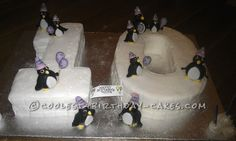 Coolest Penguin Birthday Cake... This website is the Pinterest of birthday cake ideas