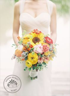 Snippets, Whispers & Ribbons Orange and yellow bouquet recipe from Wedding Chicks