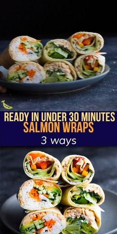 Wrap Recipes, Lunch Recipes, Healthy Dinner Recipes, Appetizer Recipes, Appetizers, Prepped Lunches, Work Lunches, Salmon Wrap, Tasty Videos