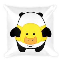 Pompo Duck Backpack (White) - Square Throw Pillow