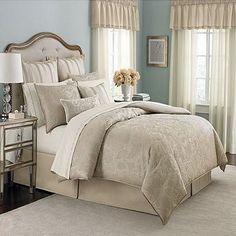 Aqua walls, beige drapes, beige geometric patterned comforter - Martha Stewart Gated Garden King 24 Piece Comforter Bed In A Bag Set Martha Stewart