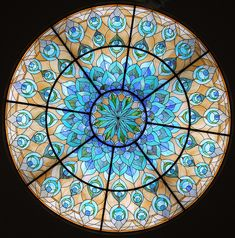 Art deco stained glass ceiling