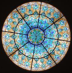 Art deco glass ceiling in Hotel Regina Palace, in Stesa