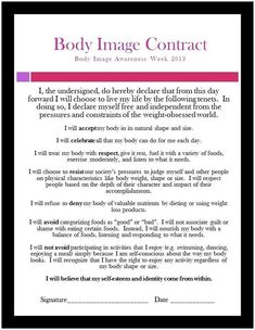 Declare respect and love for your body with this inspirational contract. Counseling Activities, Therapy Activities, Teen Activities, Therapy Worksheets, Therapy Tools, Art Therapy, Image Coach, Healthy Body Images, Positive Body Image