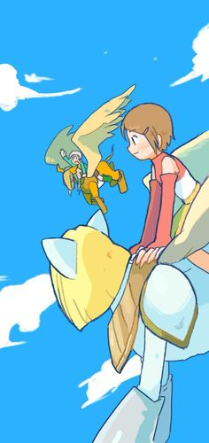 Kari and TK flying with Nefertimon and Pegasusmon Digimon 02, Digimon Seasons, Digimon Adventure 02, Pokemon, Pikachu, Cute Creatures, Fantasy Creatures, Gatomon, Digimon Digital Monsters