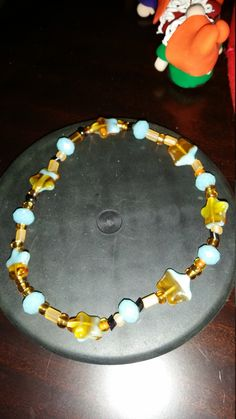 Autumn stretch bracelet with blue stars by BritkneesBootique on Etsy