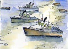 """Lobster Boat in Perkins Cove"" - Original Fine Art for Sale - © Mary Byrom atlantic canada Lobster Boat, Work Friends, Atlantic Canada, Sketchbooks, Artist At Work, Art For Sale, Art Work, Boats, Mary"