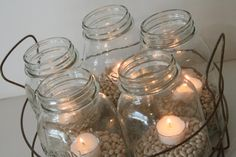 Vintage Wire Basket with 5 Mason Canning Jars with Stars Farmhouse Decoration Centerpiece Warm Country Christmas