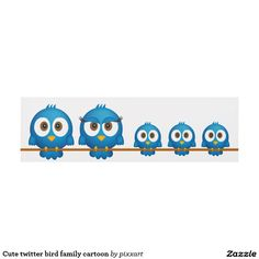 Cute twitter bird family cartoon panel wall art