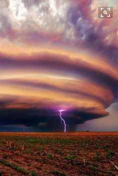 Lightning highlights a Supercell