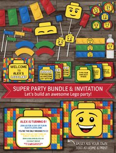 INSTANT DOWNLOAD  Lego Party Pack Lego Birthday Lego Invitation by LaBelleStudio, $25.00