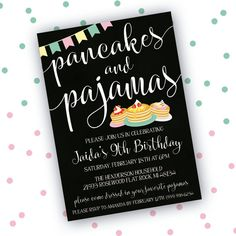 Inspired from the popular Pancakes and Pajamas party theme. These invitations will set the tone for an awesome sleepover! This Listing is for PRINTABLE digital files, no physical items will be shipped. You can print at home, a local print shop or upload to an online printer of your choice. This invitation can be customized to fit your color scheme. You may request a color change by purchasing this listing: https://www.etsy.com/listing/477835803/color-customization-re...