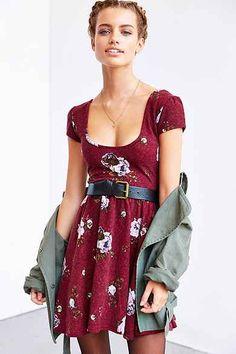 Kimchi Blue Autumn Cap-Sleeve Skater Dress