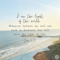 I am the light of the world. Whoever follows me will never walk in darkness, but will have the light of life. (John 8:12)