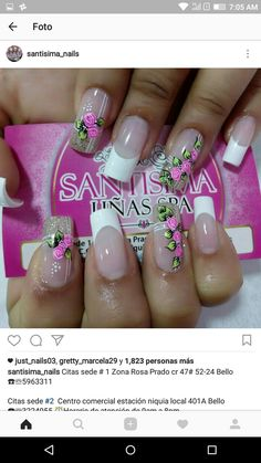 Hermosas flores Spring Nail Art, Spring Nails, Cute Nails, My Nails, Nail Tips, Beauty Nails, Manicure, Nail Designs, Tattoos