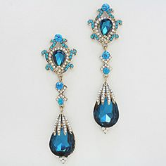 """Gorgeous Long Teardrop Earrings, 4"""" in length. Also comes in red, AB, clear crystal on gold, clear crystal on silver and topaz.  Perfect for homecoming, pageants and prom."""